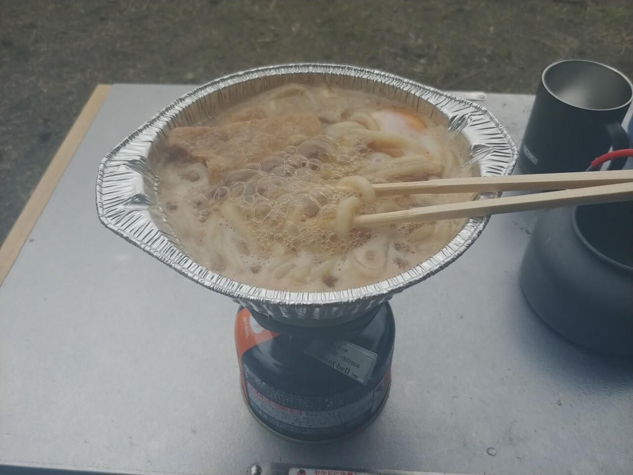 ジェットボイル鍋焼きうどん